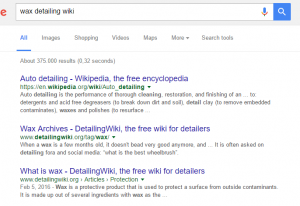 Showing search results on Google